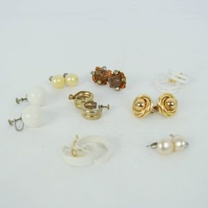 Vintage 70s 80s Clip On Earrings LOT OF 8 PAIRS